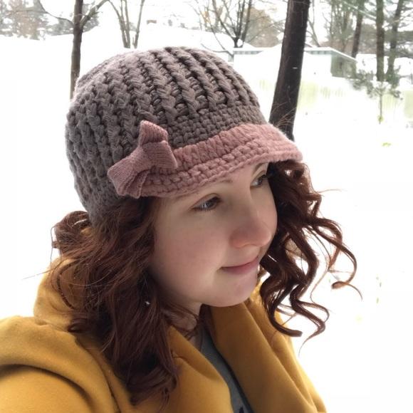 1dffb9c17f87be cc exclusives Accessories - Tan & Pink Winter Knit Beanie Hat Bow Brim  Women's